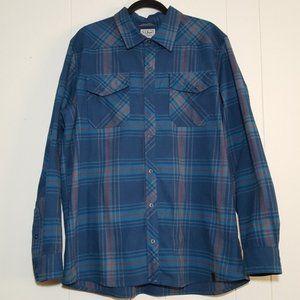 LL Bean flannel button down shirt blue plaid XL